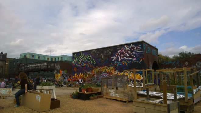 Meeting of Styles centred around the giant wall in the newly formed Nomadic Community Gardens