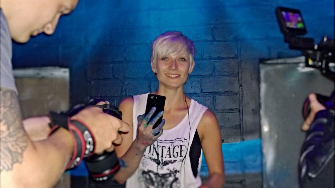 One of the faces of the Sony Experia campaign, Zina. This was just after she had painted her luminous mural