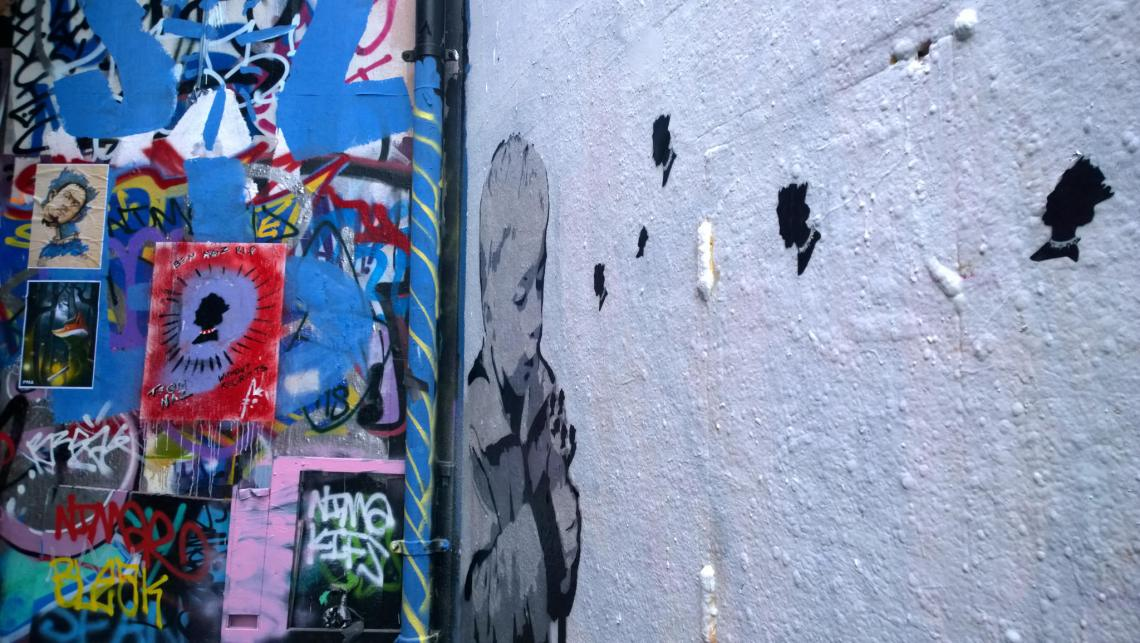 Dope's piece with Ben Naz paste ups in the  background