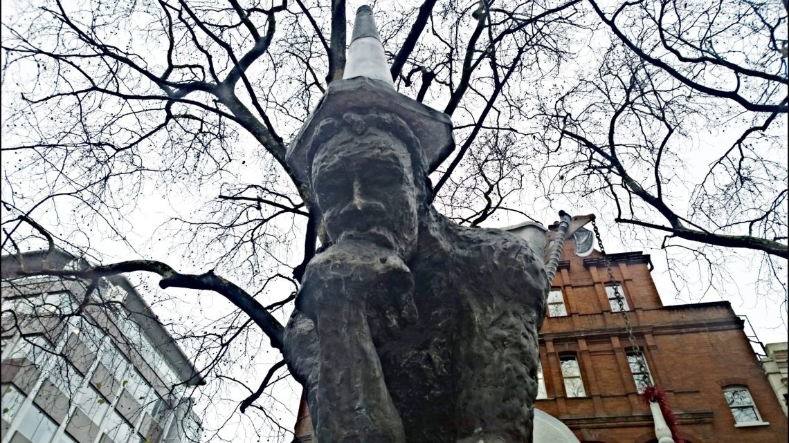 The head of the drinker statue