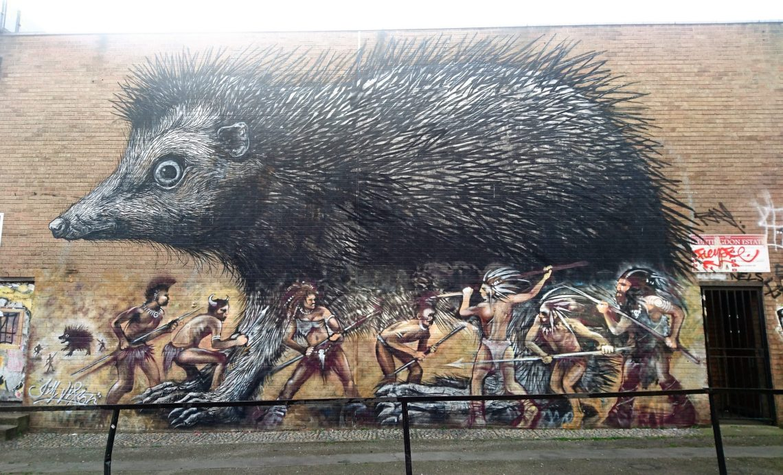 Giant Hedgehog mural on chance street in shoreditch