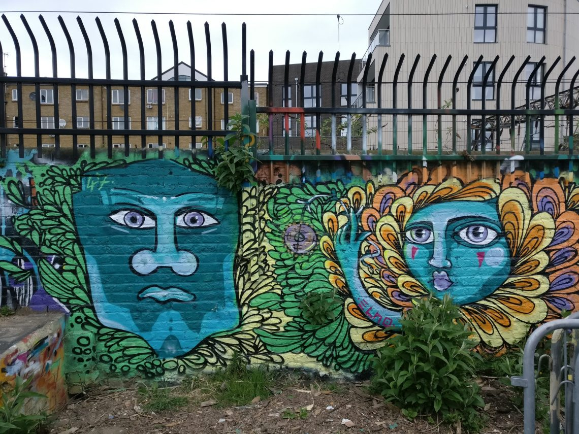 Street art inside the Nomadic Gardens on Brick Lane