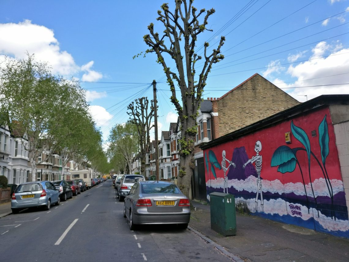street art by frankie strand on wood street in walthamstow