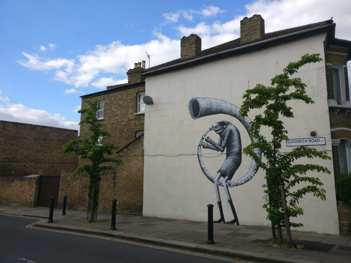 Mural by Phlegm in Dulwich. Part of the Dulwich Outdoor Gallery it was curated by Ingrid Beazley