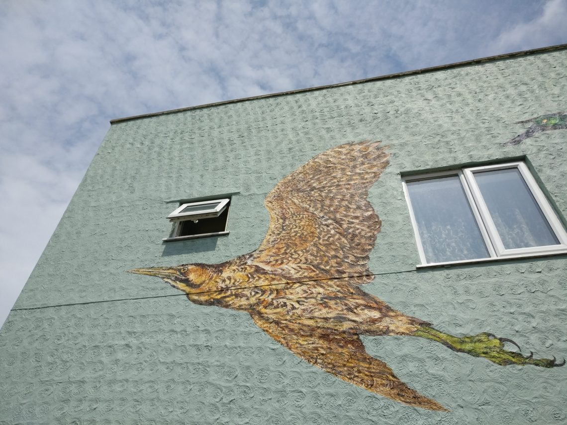 Painting of a Bittern by ATM on the side of a house on Coppermill Lane