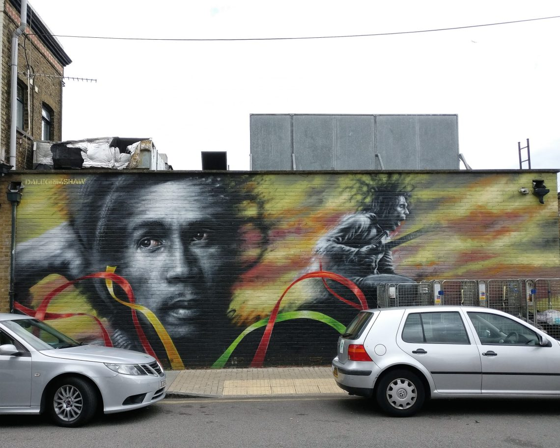 Mural of Bob Marley in Brockley by Dale Grimshaw