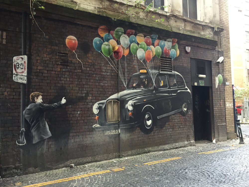 Rogue One taxi Glasgow street art 360