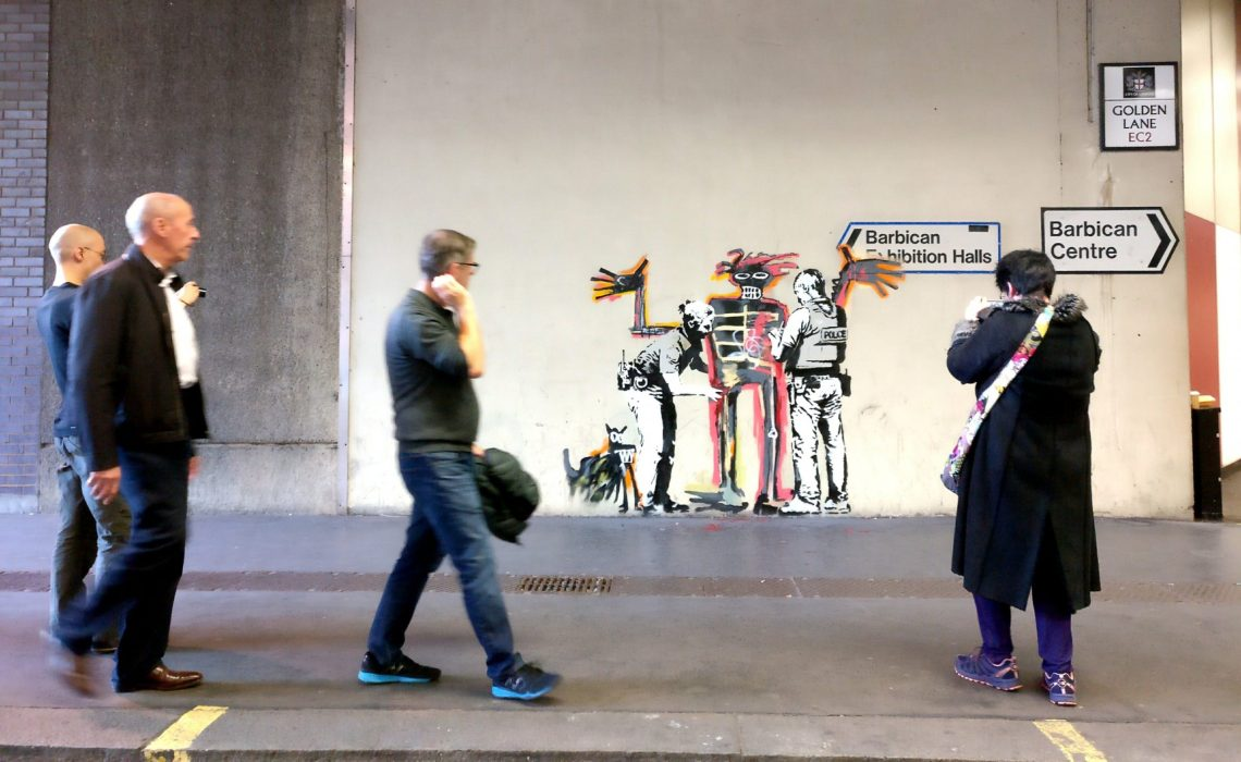 The Banksy Mural on golden Lane near the barbican