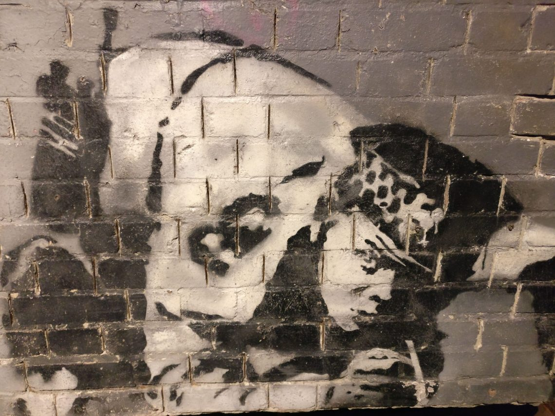 Close up of the Snorting Copper by Banksy