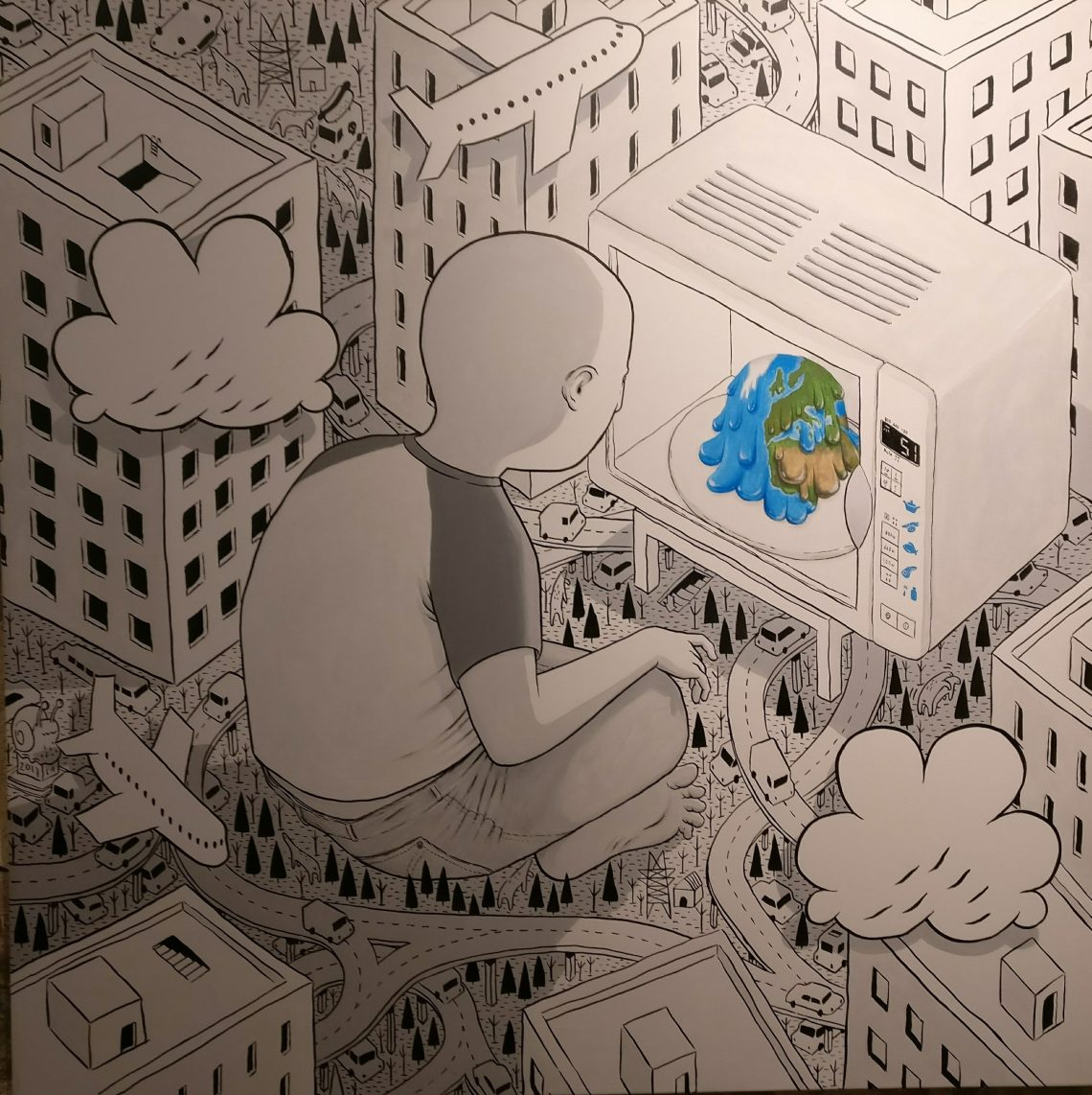 Painting by Millo at the Social Paradox exhibition at the Stolen Space Gallery