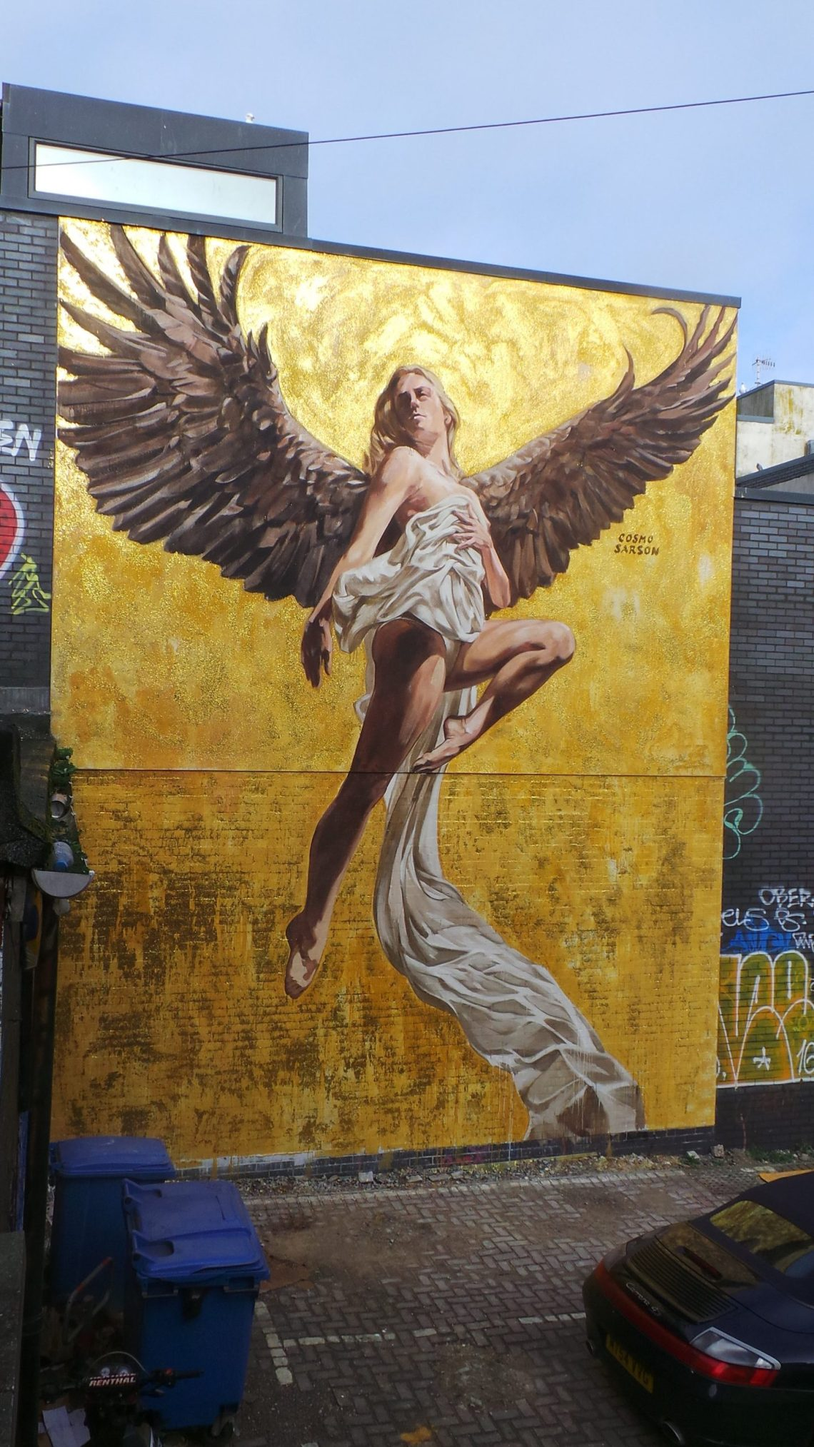 The completed angel mural in Brighton by Cosmo Sarson
