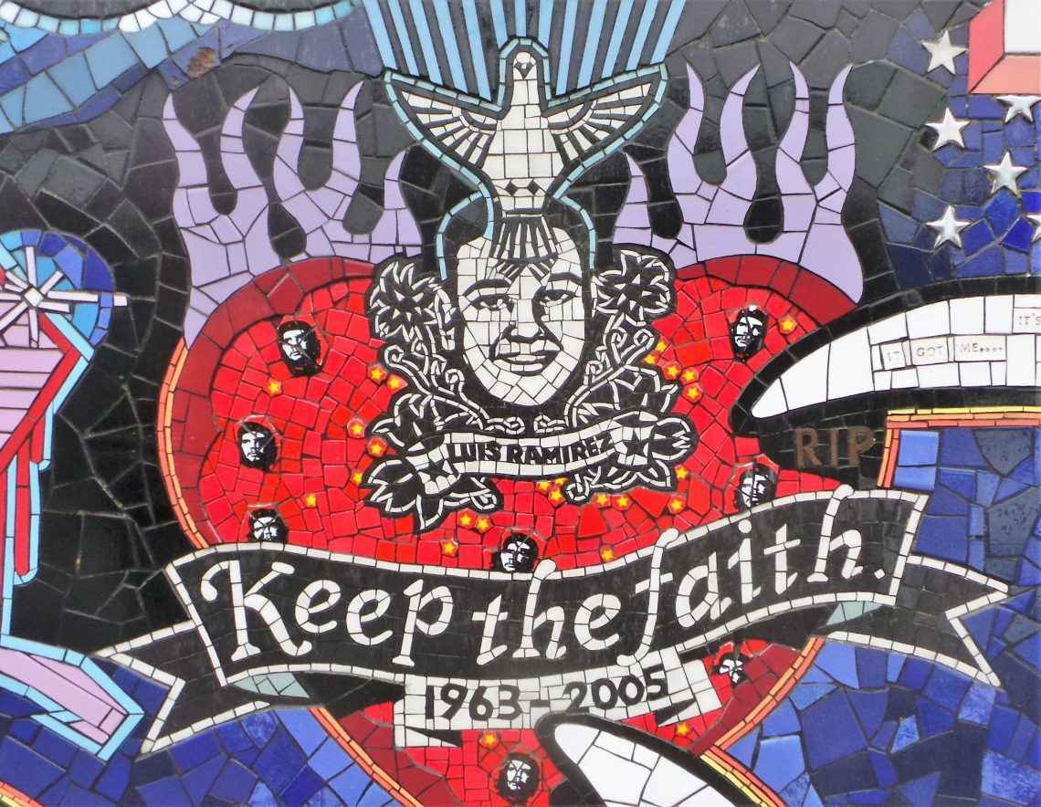 Mosaic commemorating Luis Ramirez at the back of the mosaic house