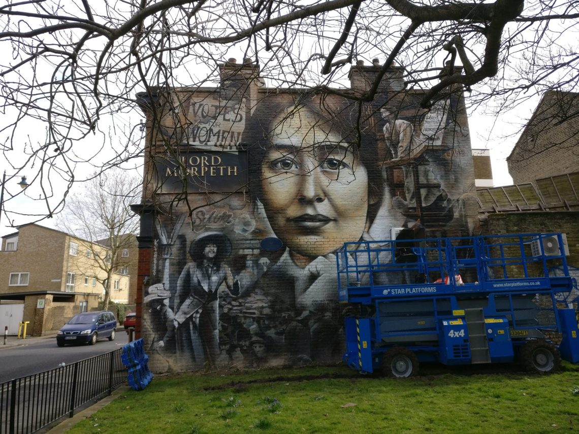 The Suffragette Mural in Bow on the side of the Lord Morpeth pub shows the face of Sylvia Pankhurst