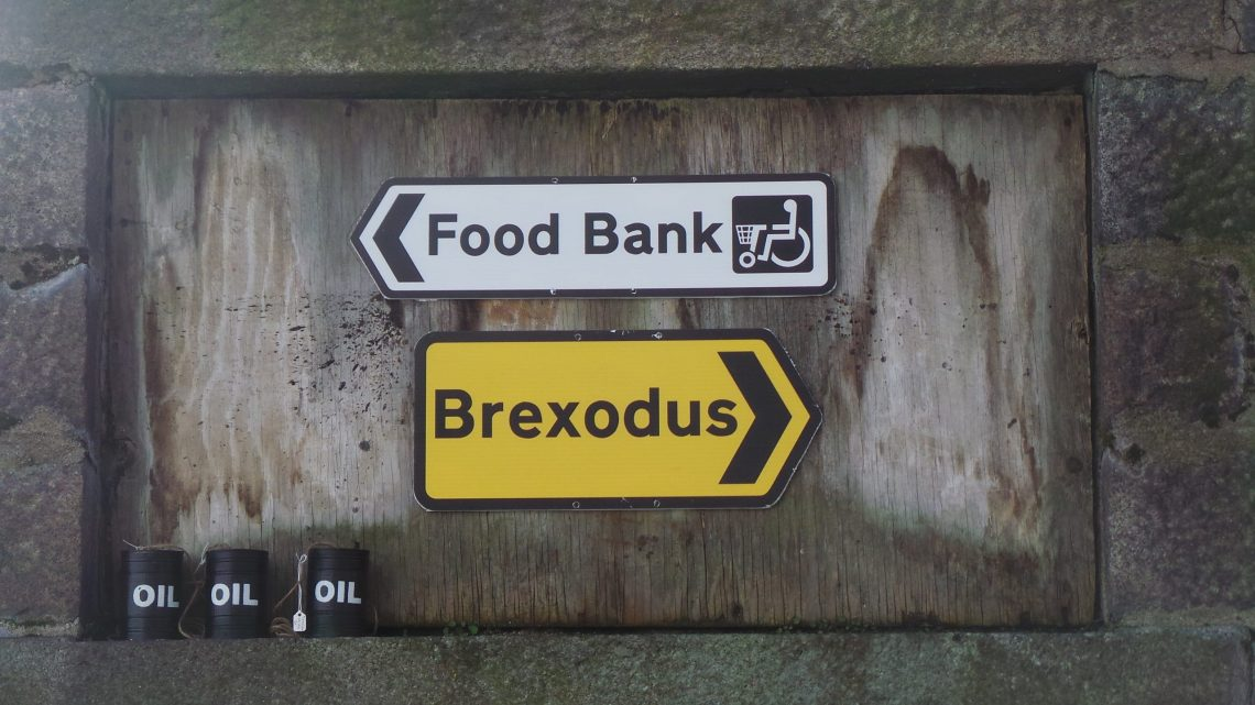 Brexodus and Food Bank signs by Dr.D for Nuart Aberdeen 2019