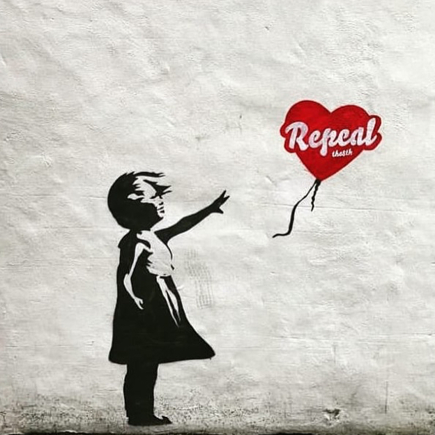 Banksy Repeal image created by Maser and ESTR in Dublin