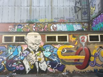 The old warehouse with pieces from various artists including Eugene Booms