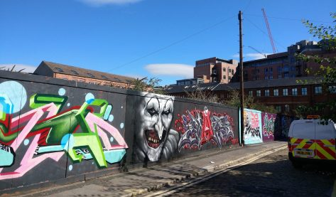 The art of Brownell Street and the hoardings nearby are ever changing. Here are pieces from Sheffield writers MACE and MARS