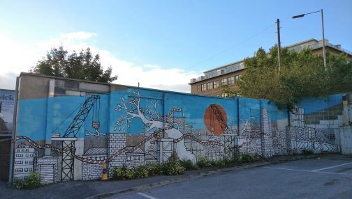 Large mural from Jo Peel in the Wellington Street Car Park