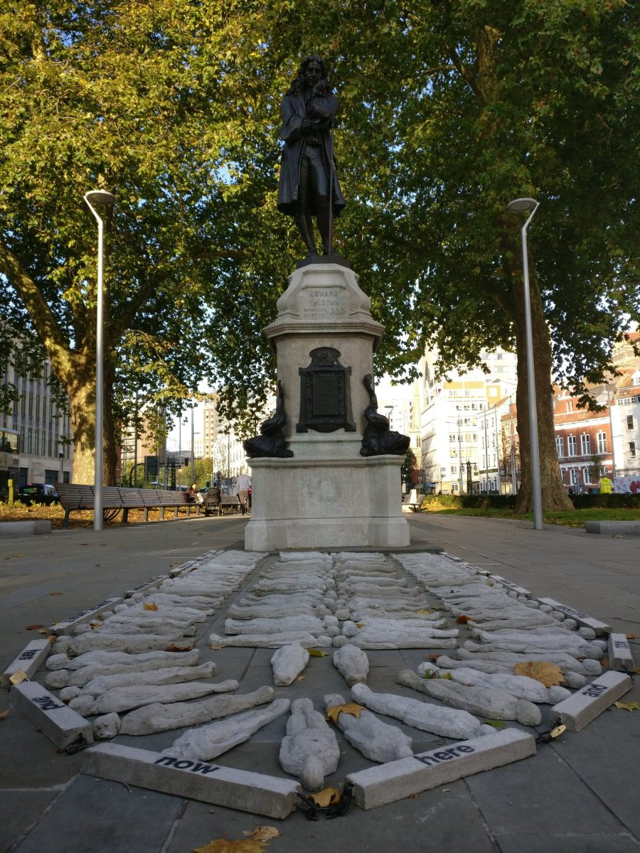 Anti Slavery Installation appears next to Edward Colston Statue in Bristol