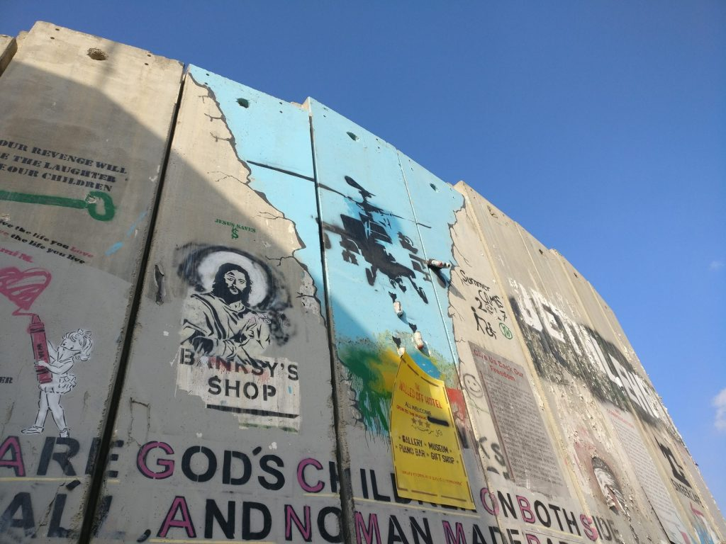 Banksy helicopter on the West Bank Barrier in Bethlehem