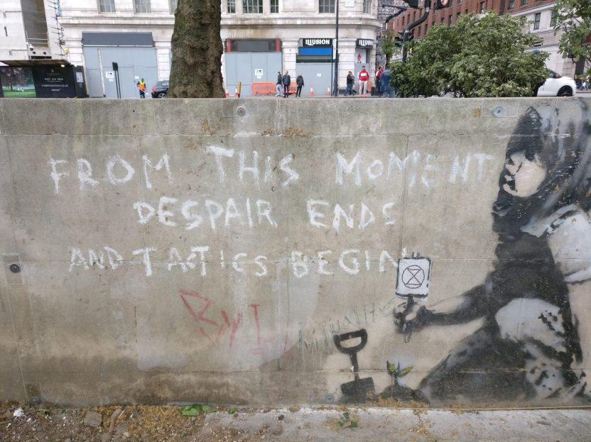 Banksy's Extinction Rebellion mural can be found at Marble Arch in London