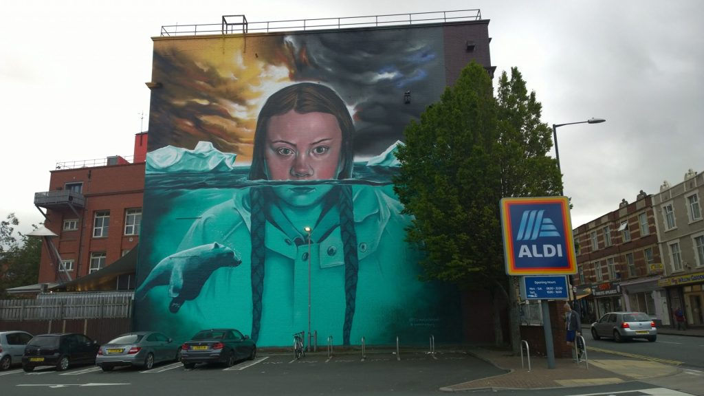 Street Art showing Greta Thunberg in Bristol on the side of the Tobacco Factory