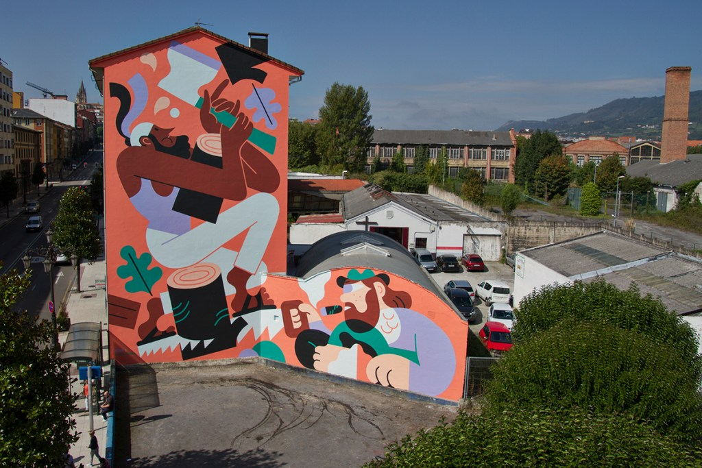 Street art by Hedof and Joren Joshua  in Oviedo