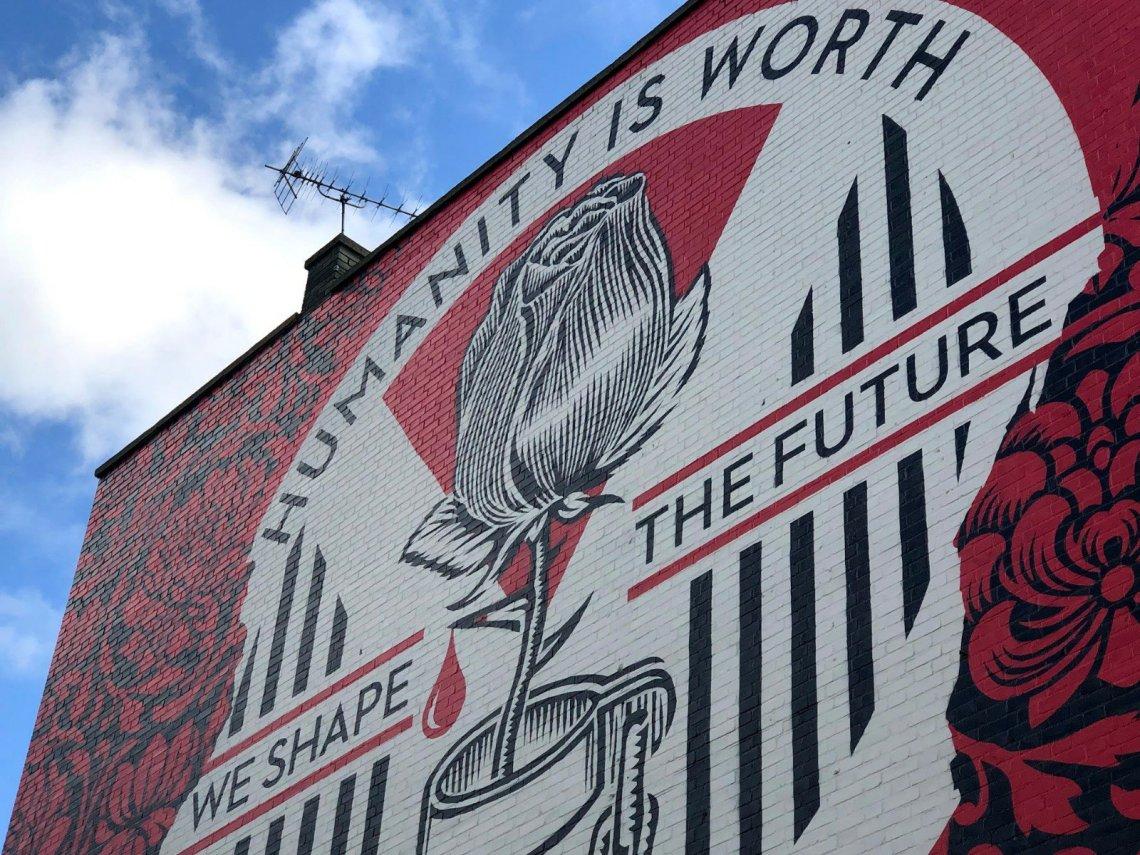 Street art by Shepard Fairey in London on Mare Street