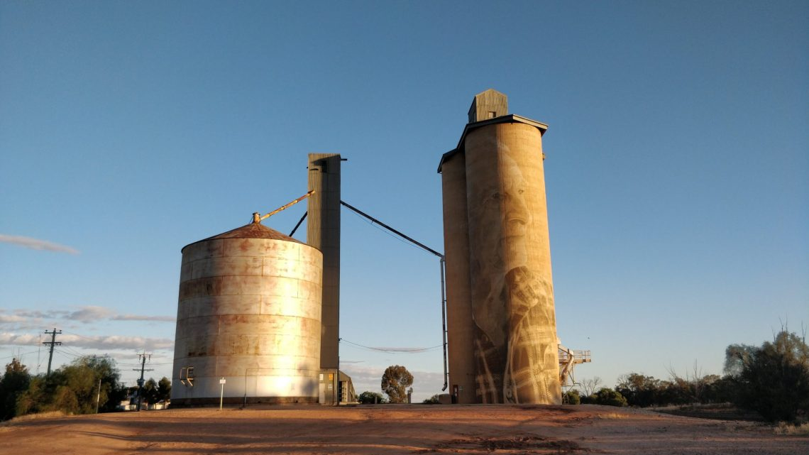 Grain silo in Lascelles painted by Rone. Part of the Silo Art Trail