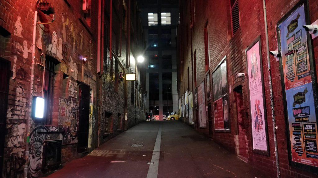 Duckboard Place at night