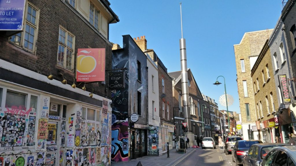 Brick Lane looking up towards the Mosque