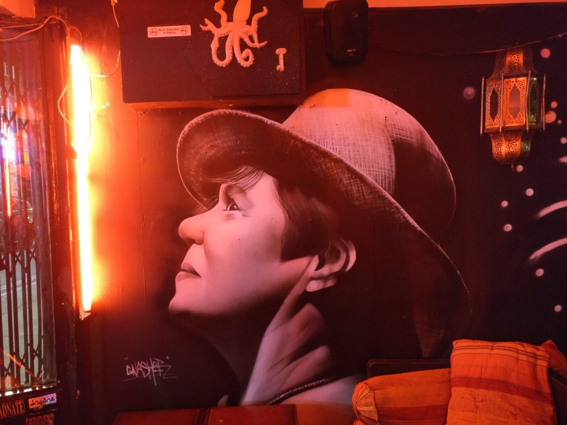Mural of Lisa Richer inside Montys Bar on brick lane