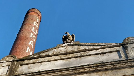 The Truman Brewery Chimney with Black Eagle Sculpture