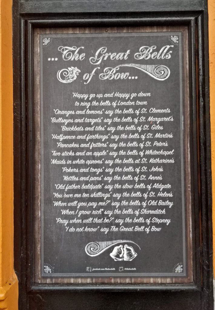 The Oranges and Lemons Nursery Rhyme as written on the Bow Bells Pub in Bow. What is the meaning behind the rhyme?