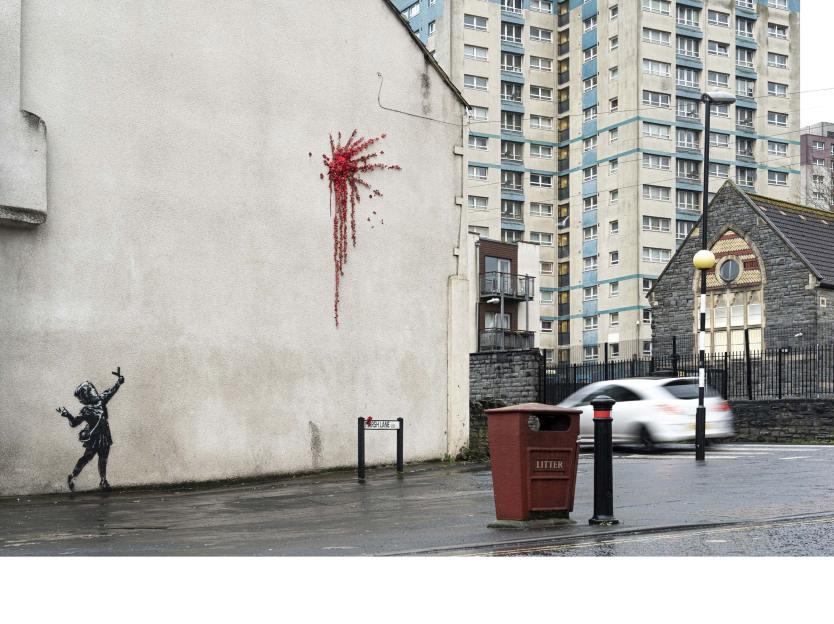 Banksy street art on Barton Hill in Bristol