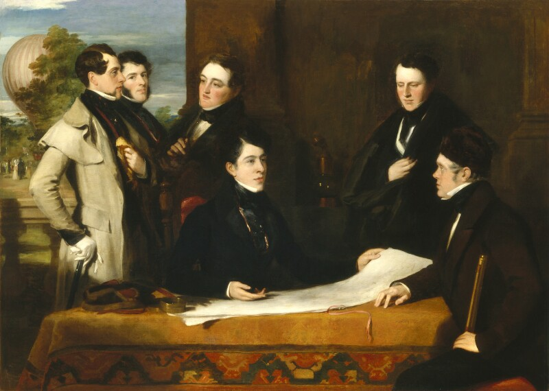 A consultation prior to the aerial voyage. A painting by John Hollins featuring Charles Green