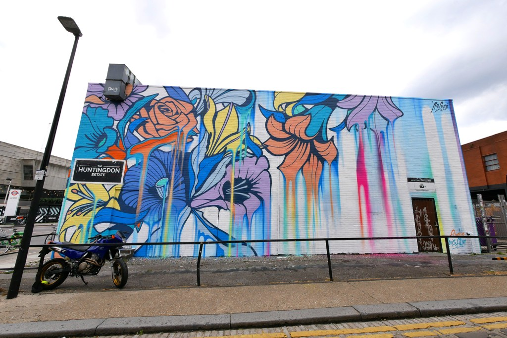 Completed street art mural on Chance Street by Nerone