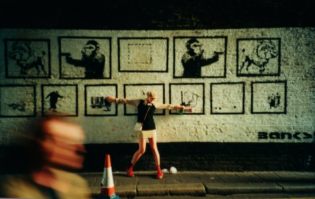 Rare image of Banksy's twelve stencils image on Rivington Street