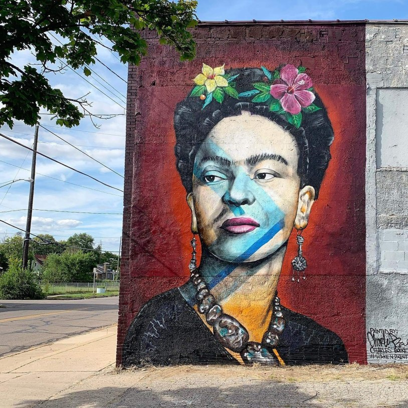 Mural of Frida Kahlo by Charlie Boike for the Flint Public Art Project