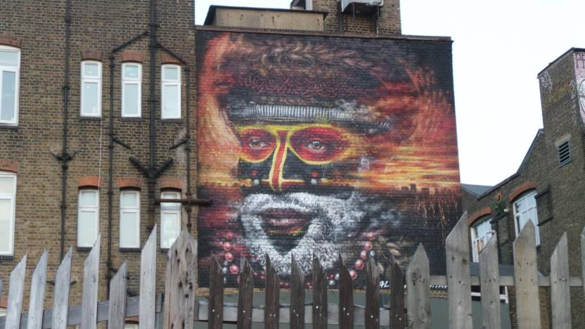 Dale Grimshaw mural in Hackney Wick, part of the London Mural Festival