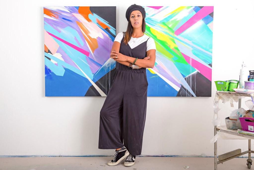 Artist Laura Benetton in her studio