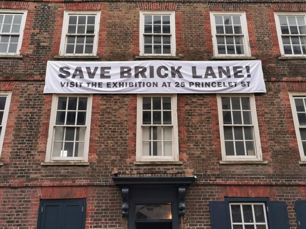 Save Brick Lane banner on 25 princelet street