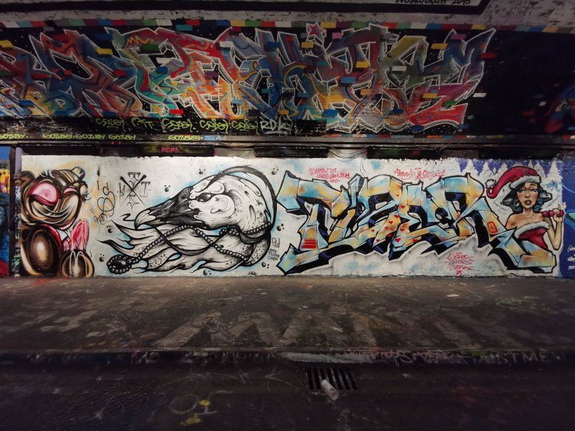 Mural by 'This One' and Tizer in the Leake Street Arches