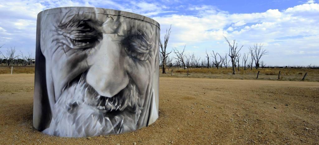 Winton Wetlands art on a water tank
