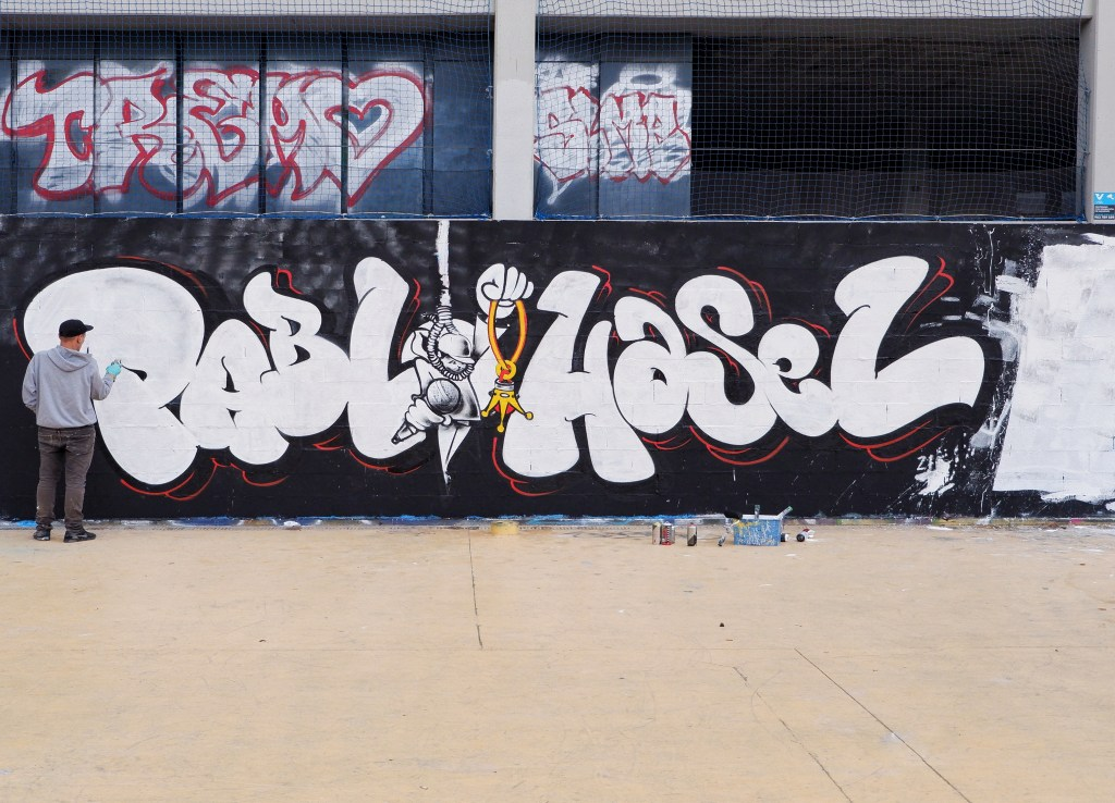 Pablo Hasel graffiti by the artist Kader in Barcelona