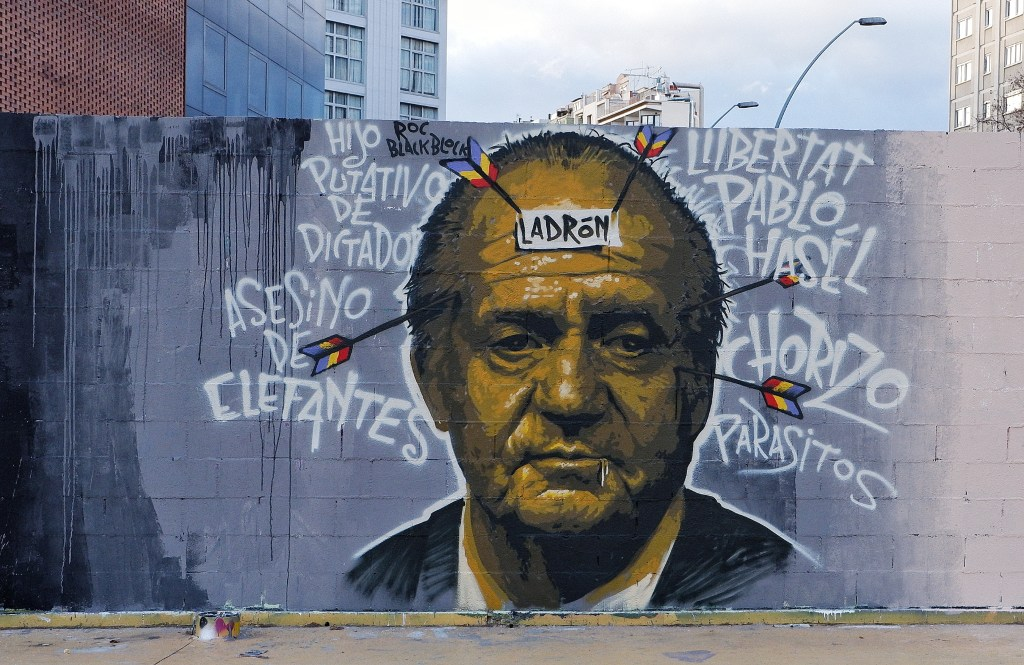 Mural by Roc Blackbook showing King Juan Carlos and the word 'thief' written on his head