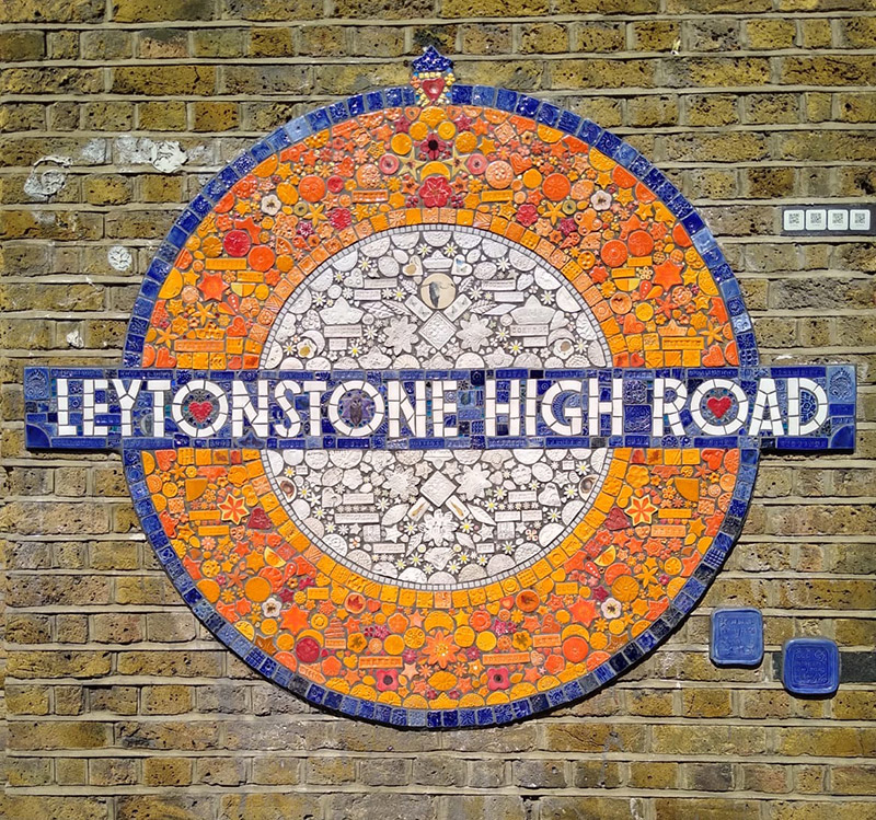 the completed mosaic roundel outside Leytonstone high road station