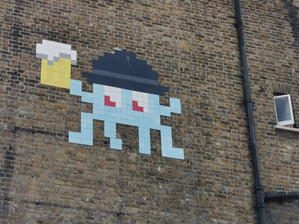 Street art mural by Invader in Walthamstow