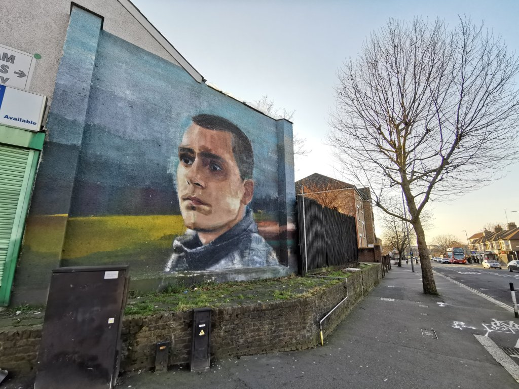 Street art mural by Erin Holly in Walthamstow. The piece is a dedication to Joseph Torres