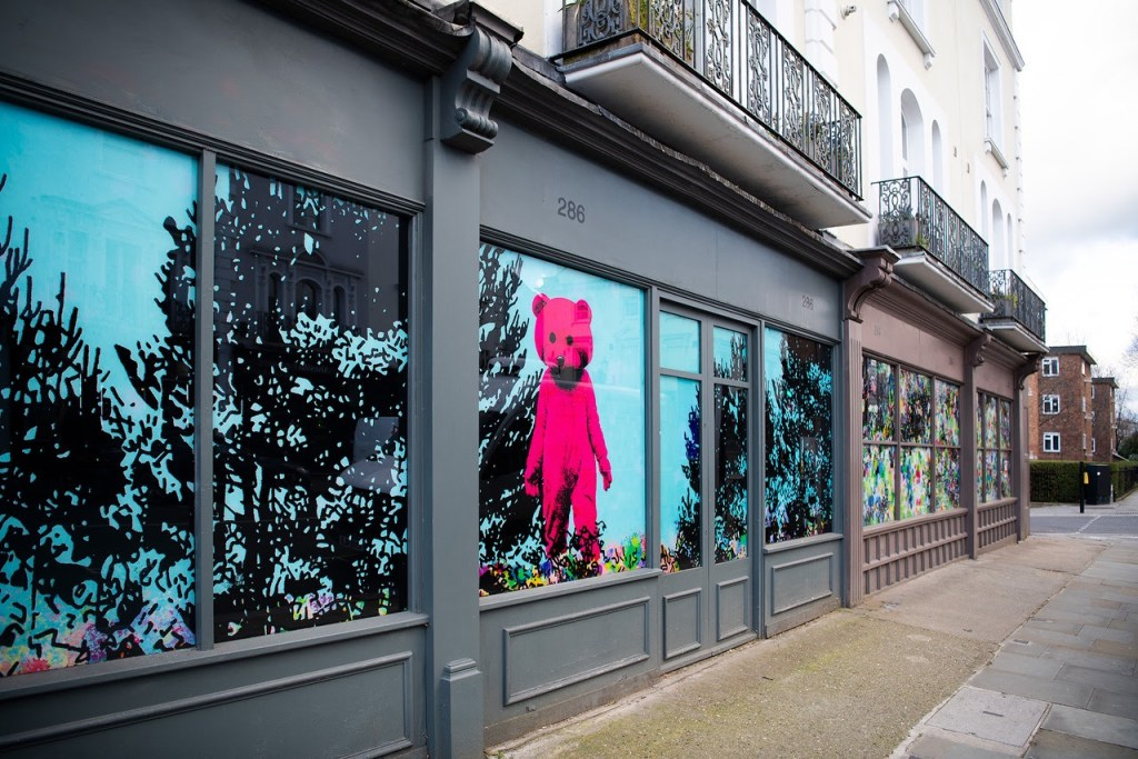 LUAP's Pink Bear on a window in Notting Hill
